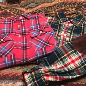 Two long sleeve Polo flannel shirts